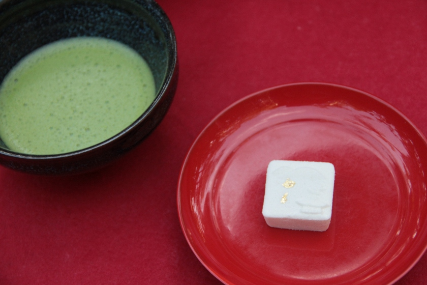 Matcha and sugar snack